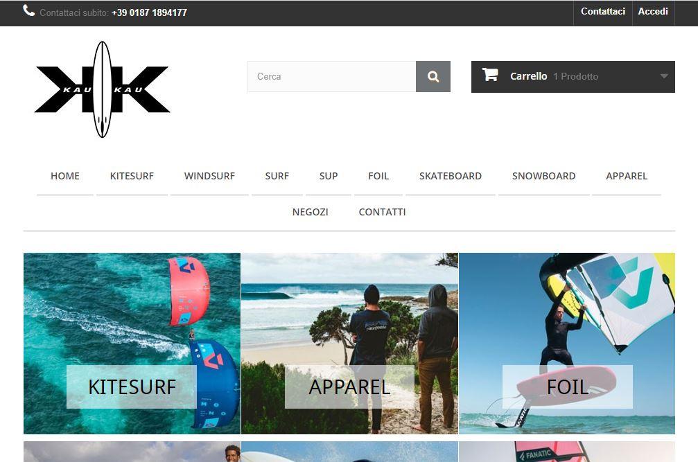 Kau Kau piattaforma e-commerce sport acquatici